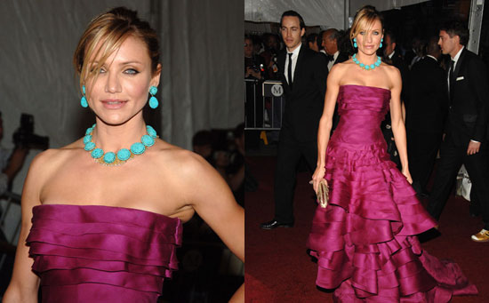 Cameron Diaz wearing a turquoise necklace and earrings from Fred Leighton.